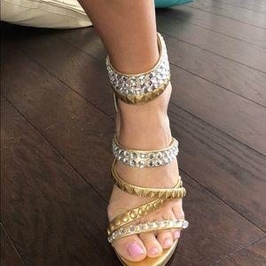 Bebe gold/stud heels